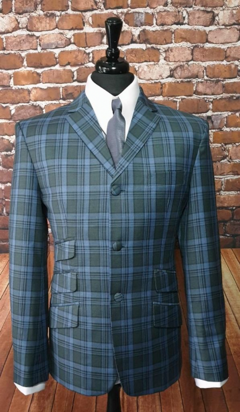 """Jefferson"" Blue Grey/Olive Bold Checked Suit"